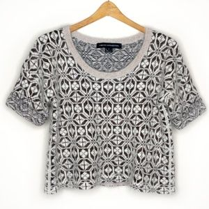 French Connection Short Sleeve Angora Crop Sweater